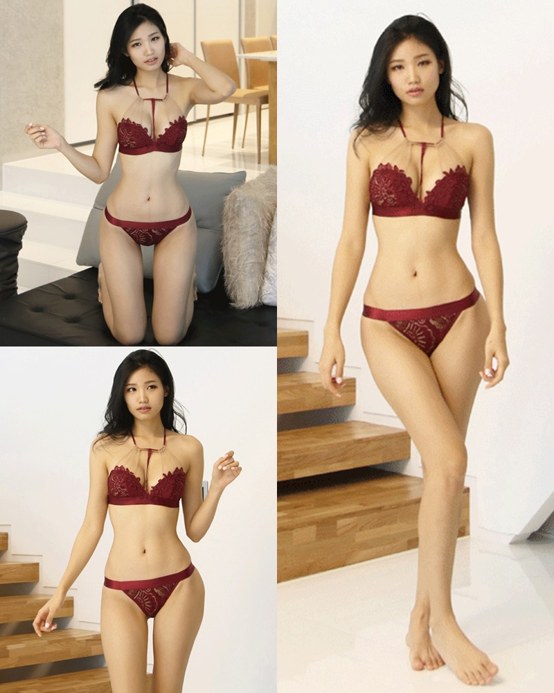 Image Korean Fashion Model - Lee Hee Eun - Baghdad Caffeine Burgundy Lingerie - TruePic.net
