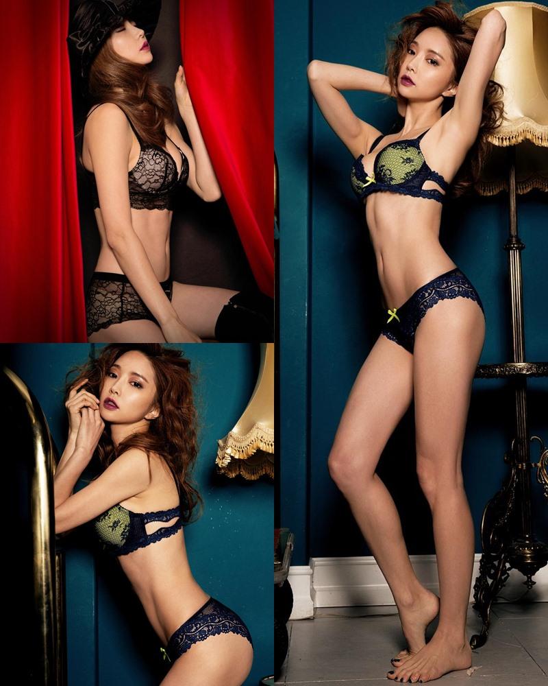 Image Korean Fashion Model - Park Soo Yeon - BVB Black Lace Lingerie - TruePic.net