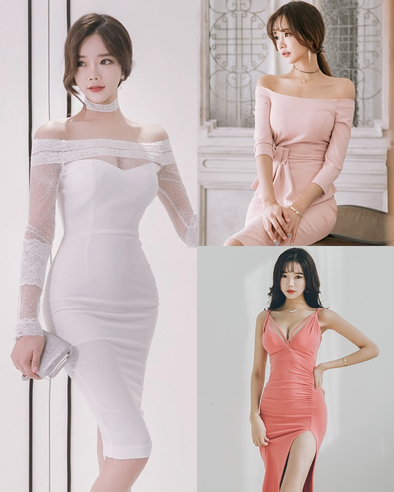 Korean Fashion Model - Kang Eun Wook - Slim Fit Bodycon Dress - TruePic.net