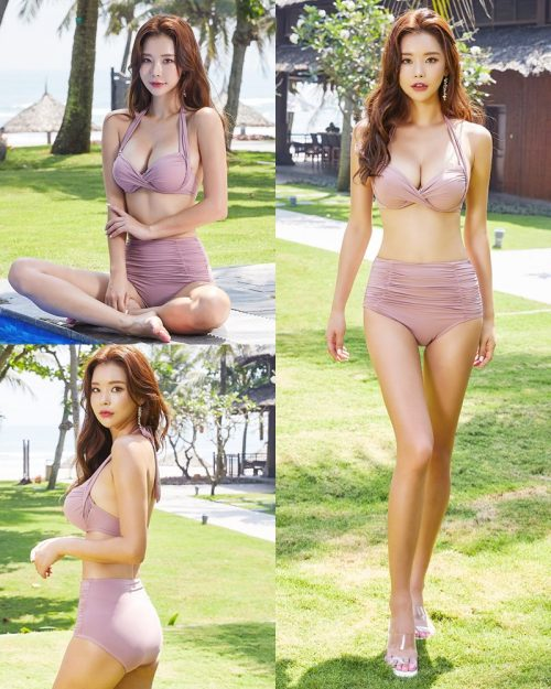 Park Da Hyun - Korean Fashion Model - Rose Mellow Pale Pink Bikini - TruePic.net