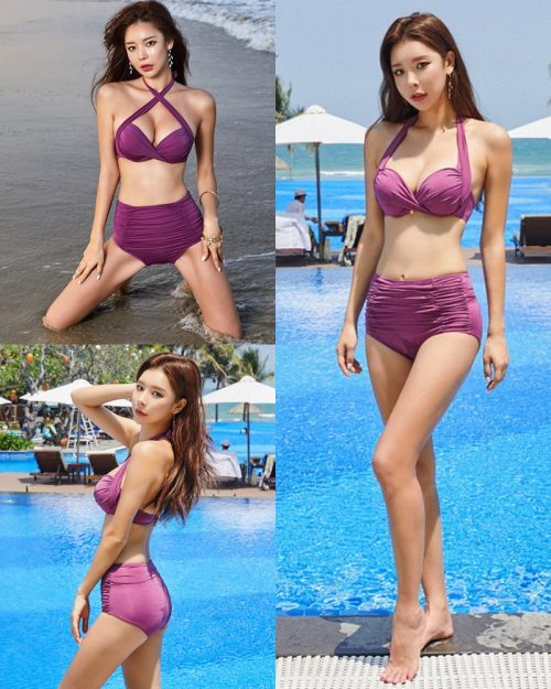 Park Da Hyun - Korean Fashion Model - RoseMellow Purple Bikini - TruePic.net