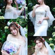 Taiwanese Model - 張倫甄 - Beautiful Bride and Hydrangea Flowers - TruePic.net