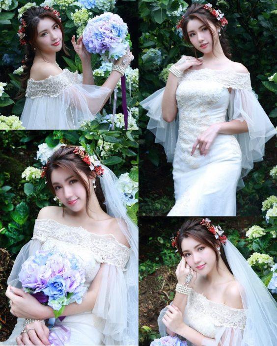 Taiwanese Model - 張倫甄 - Beautiful Bride and Hydrangea Flowers - TruePic.net
