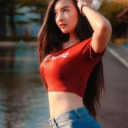 Thailand Model - Muay Phinitnan - Supreme Crop Tops and Jeans - TruePic.net