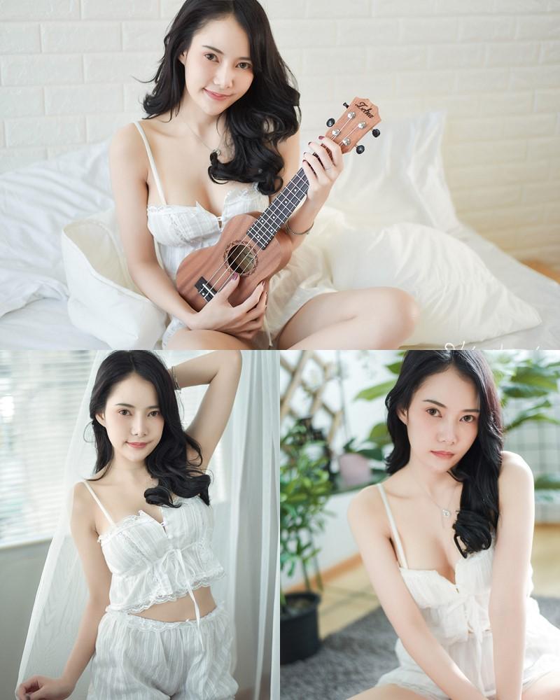 Thailand Model - Nattanicha Pw - Beautiful In White Sleepwear - TruePic.net