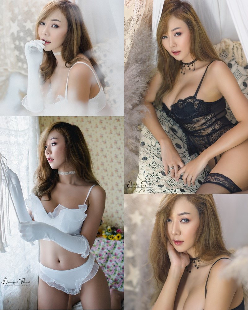 Thailand Model - Waramporn Dolly - Black and White Lingerie - TruePic.net