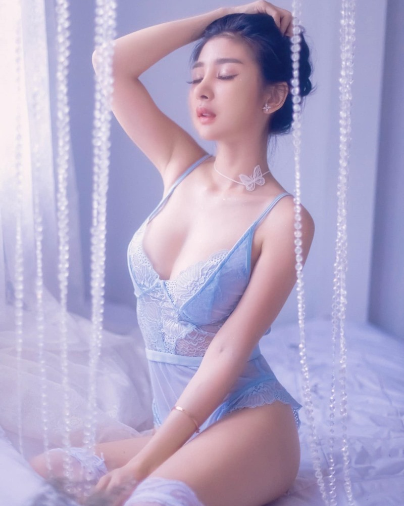 Thailand Sexy Model - Pattamaporn Keawkum - Blue Transparent Lingerie - TruePic.net