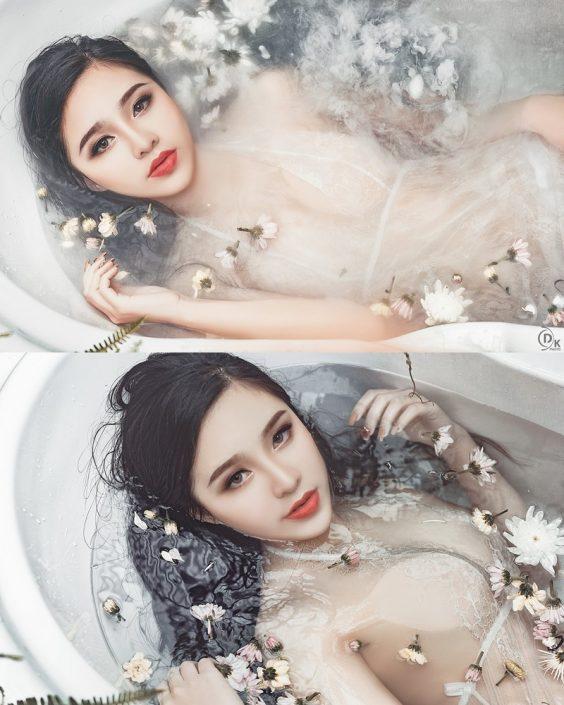 Vietnamese Model - Beautiful Fairy Flower In The Bath - TruePic.net