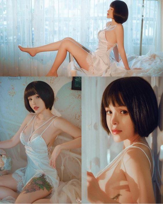 Vietnamese Model – Cute Short-haired Girl in White Sexy Sleepwear - TruePic.net