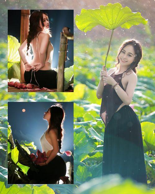 Vietnamese Model - Ha Minie - Beauty Girl and Lotus Flower #2 - TruePic.net