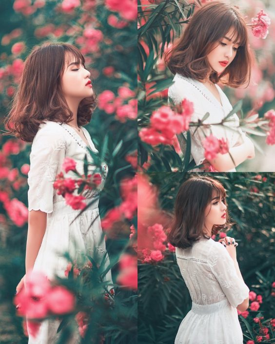 Vietnamese Model - Young Pretty Girl in White Dress and Flower Fence - TruePic.net