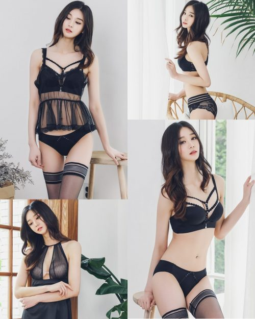 Korean Fashion Model – Carmen – Black Lingerie and Sleepwear - TruePic.net