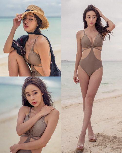 Korean Fashion Model - Hyun Kyung - Warm Brown Monokini - TruePic.net