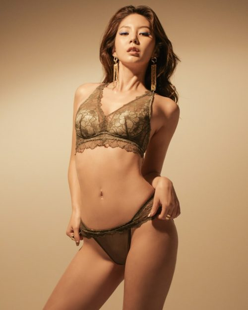 Korean Fashion Model - Lee Chae Eun - Soft Brown Lingerie - TruePic.net