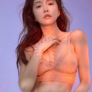 Korean Fashion Model - Park Soo Yeon - Salmon Pink Lingerie - TruePic.net