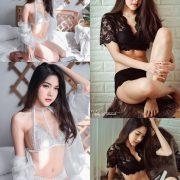 Thailand Model - Phitchamol Srijantanet - Black and White Lace Lingerie - TruePic.net