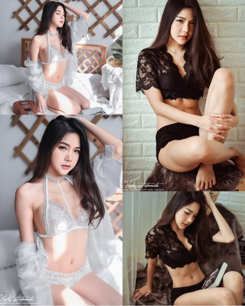 Thailand Model - Phitchamol Srijantanet - Black and White Lace Lingerie - TruePic.net
