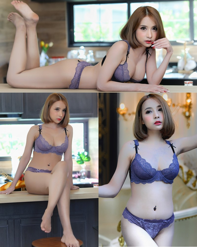 Thailand Model - ธนพร อ้นเซ่ง - Sexy In Purple Lingerie - TruePic.net