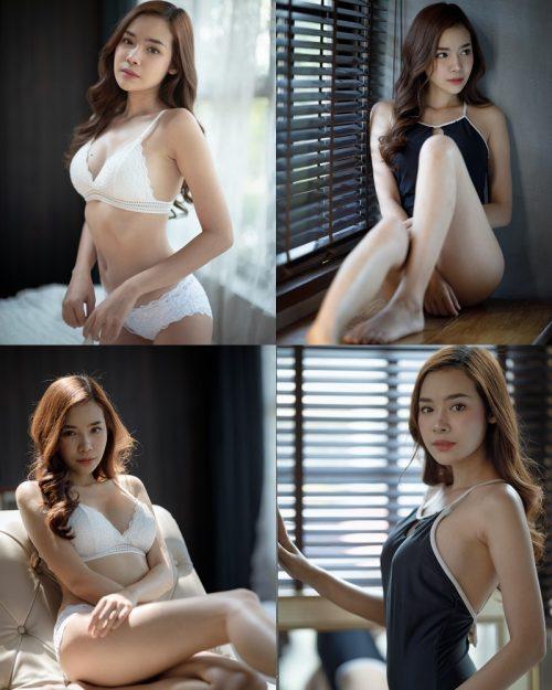 Thailand Model - Wisansaya Pakasupakul - White Lingerie and Black Monokini - TruePic.net