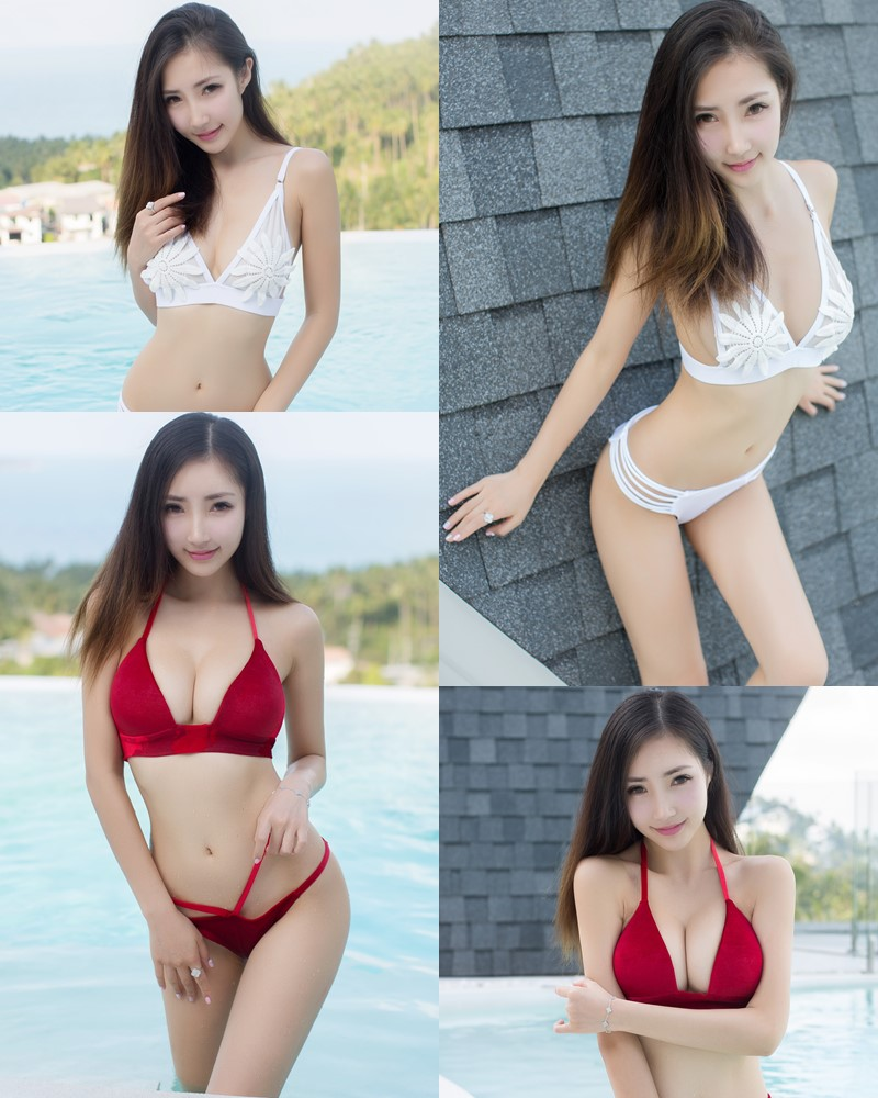 YouMi Vol.134 - Chinese Model Yumi Youmei (尤美) - Red and White Bikini Show - TruePic.net