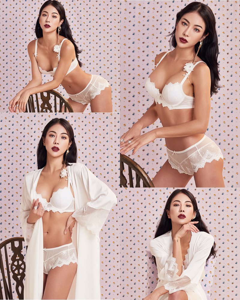Korean Fashion Model - An Seo Rin - White Lingerie and Sleepwear Set - TruePic.net