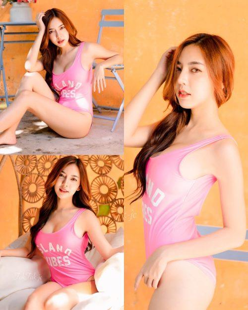 Thailand Model - Champ Phawida - Let's Swim With Pink Monokini - TruePic.net