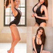Thailand Model - Pichana Yoosuk - Black One Piece Swimsuit - TruePic.net