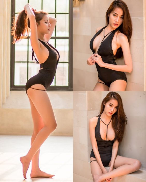 Thailand Model - Pichana Yoosuk - Black One Piece Swimsuit - TruePic.net
