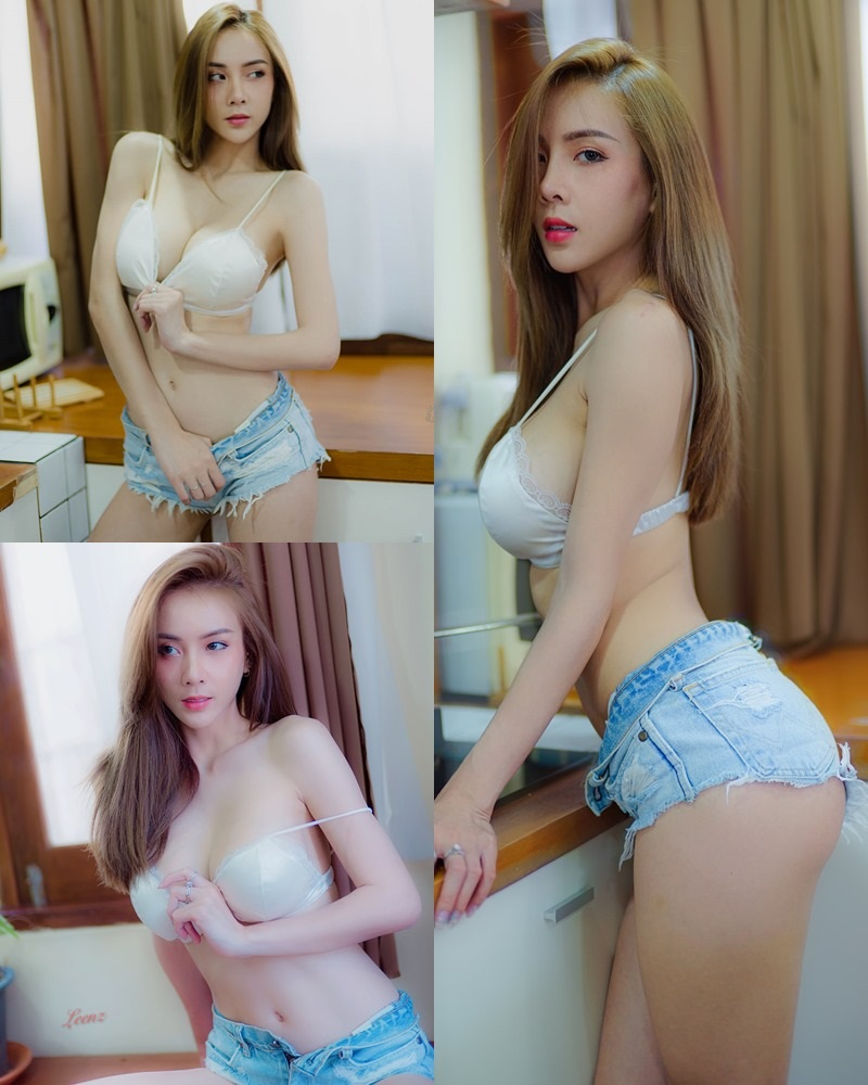 Thailand Model - Soraya Upaiprom - White Bra and Jean Short Pants-TruePic.net