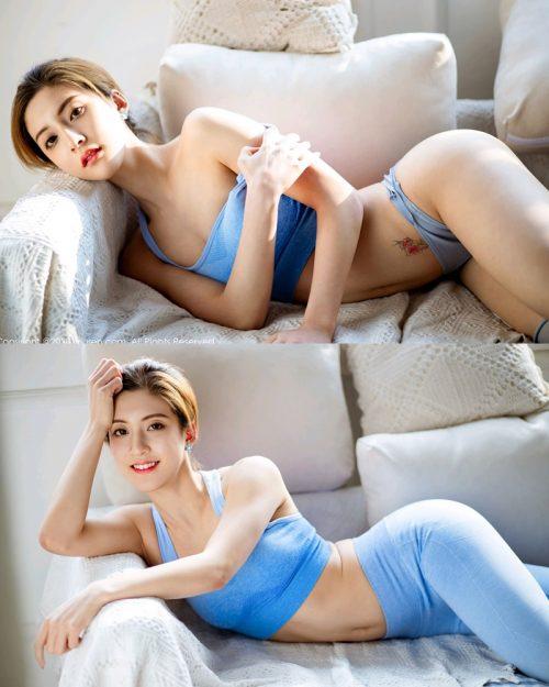 XIUREN No.2316 - Chinese Model 林文文yooki - Sexy Blue Fitness Set - TruePic.net