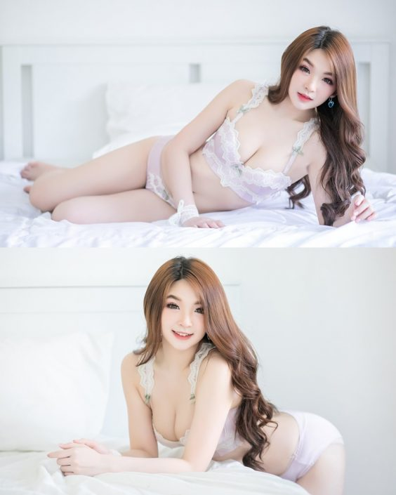 Thailand Model - JaJaa Zarinyap - Sexy Light Purple Lingerie - TruePic.net