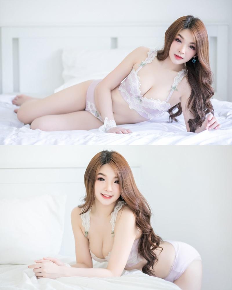 Thailand Model - JaJaa Zarinyap - Sexy Light Purple Lingerie - TruePic.net