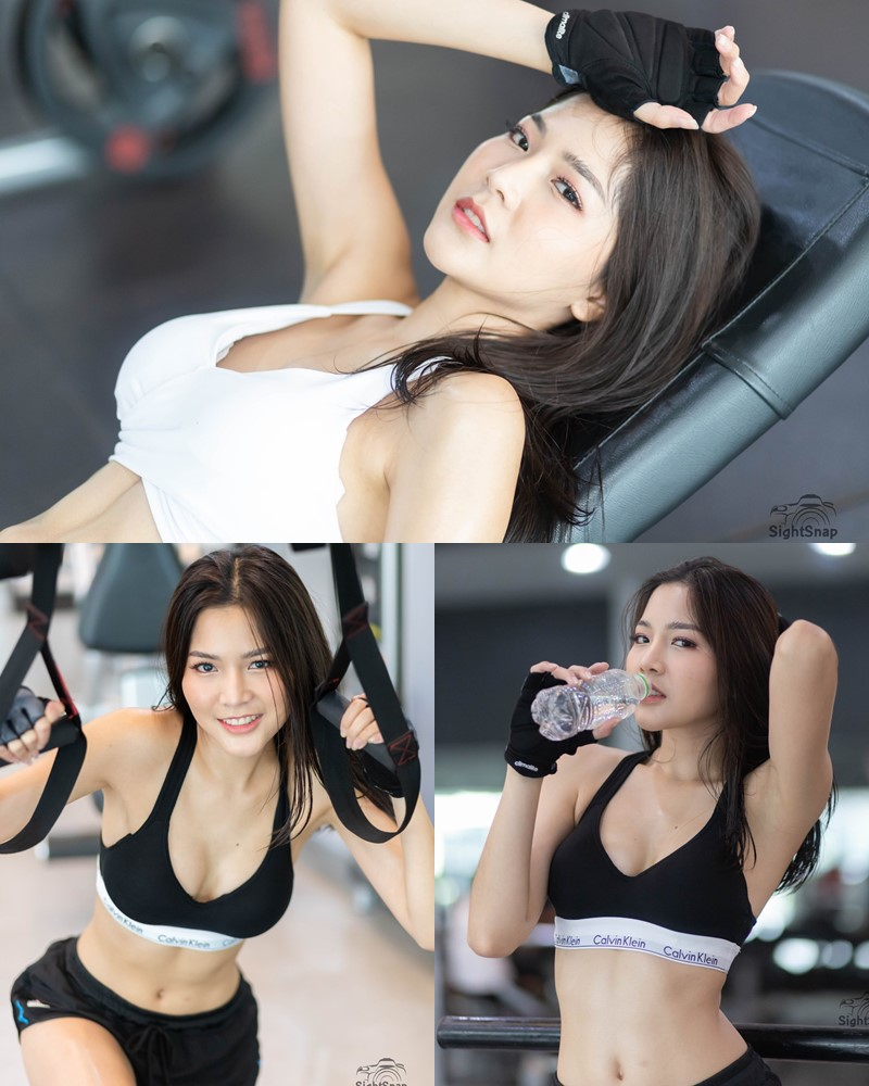 Thailand Model - Phitchamol Srijantanet - White and Black Fitness Set - TruePic.net