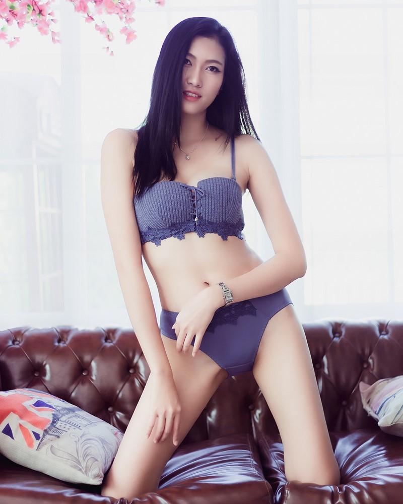 Thailand Model - Sawinee Boonbunlu - Sexy Blue Purple Lingerie - TruePic.net