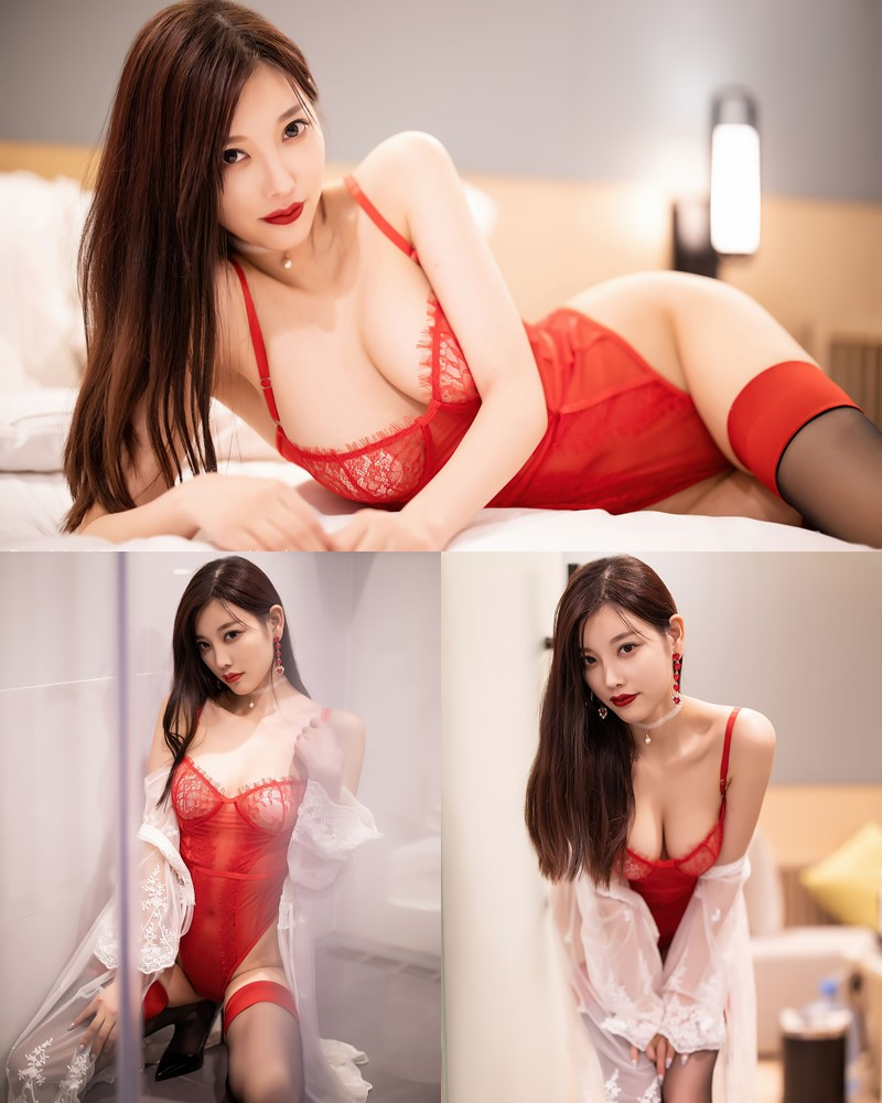 XiaoYu Vol.413 - Chinese Model - Yang Chen Chen (杨晨晨sugar)- Red Crystal-clear Lingerie - TruePic.net
